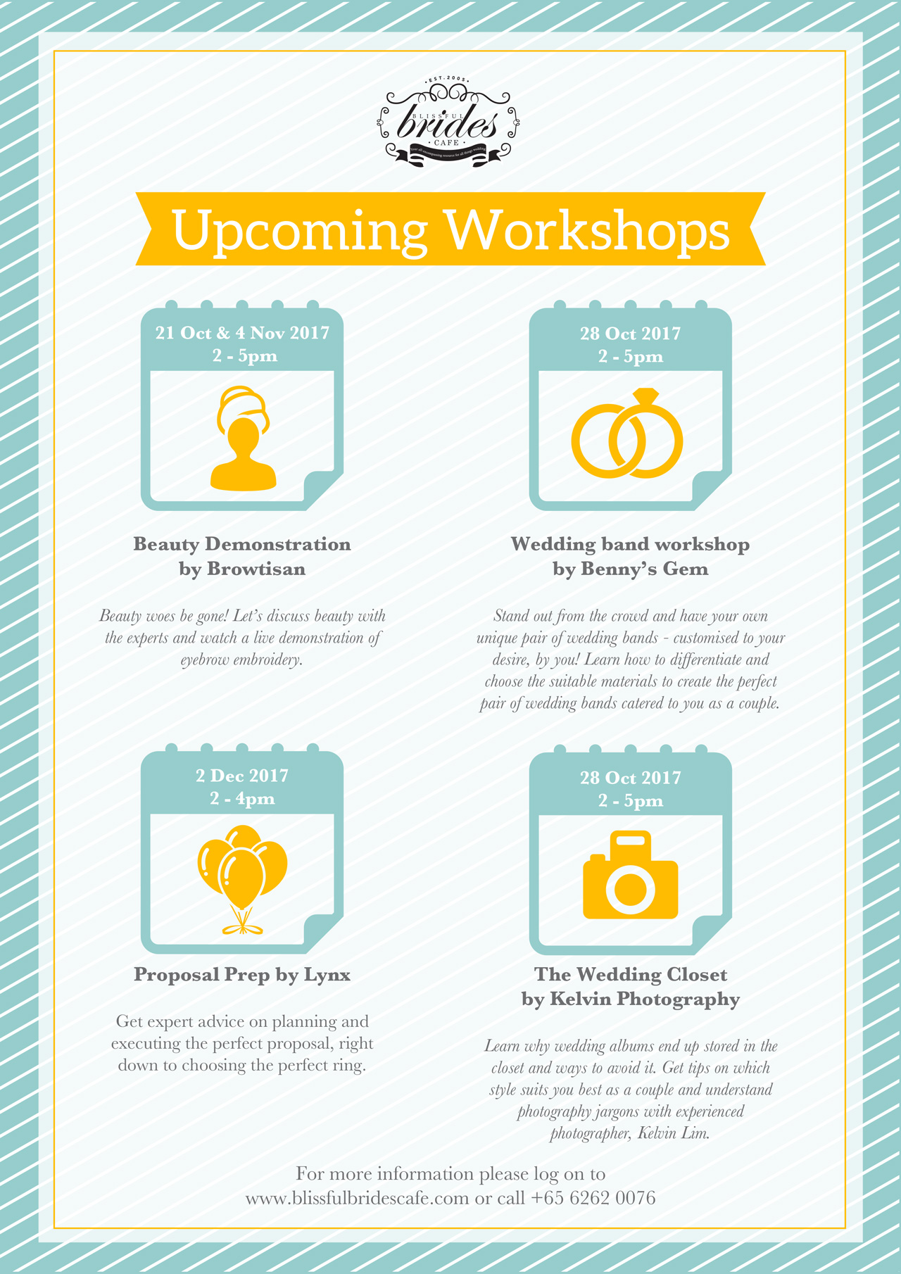 Blissful Brides Cafe workshoo events